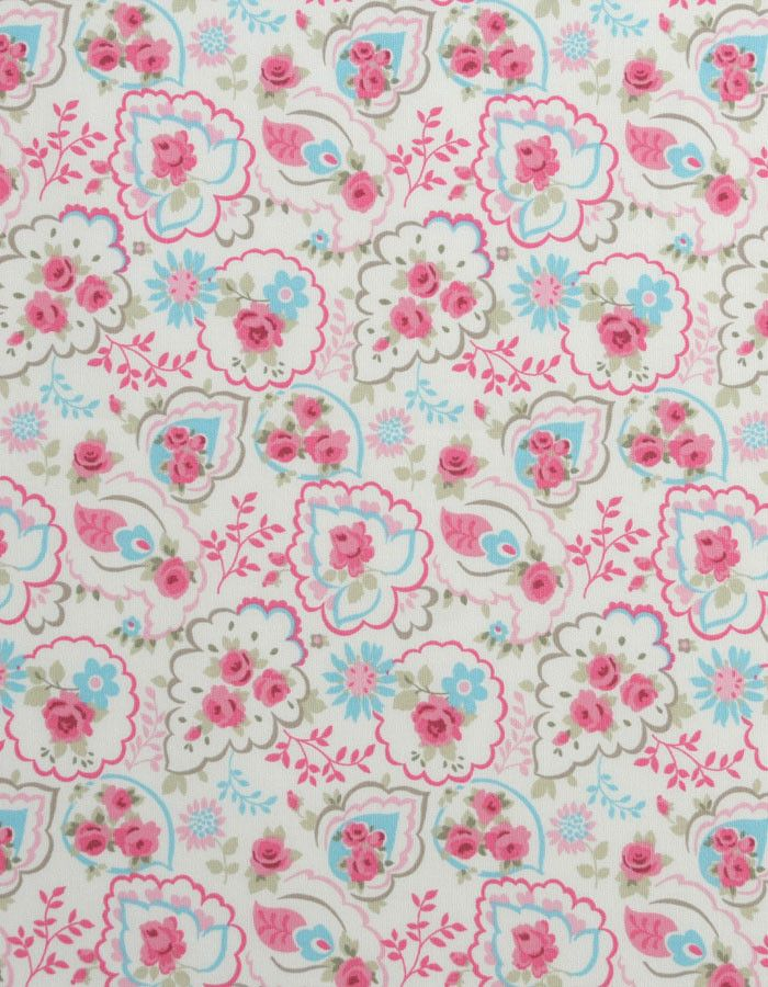 z. SAMPLE Cotton Fabric Paisley Rose