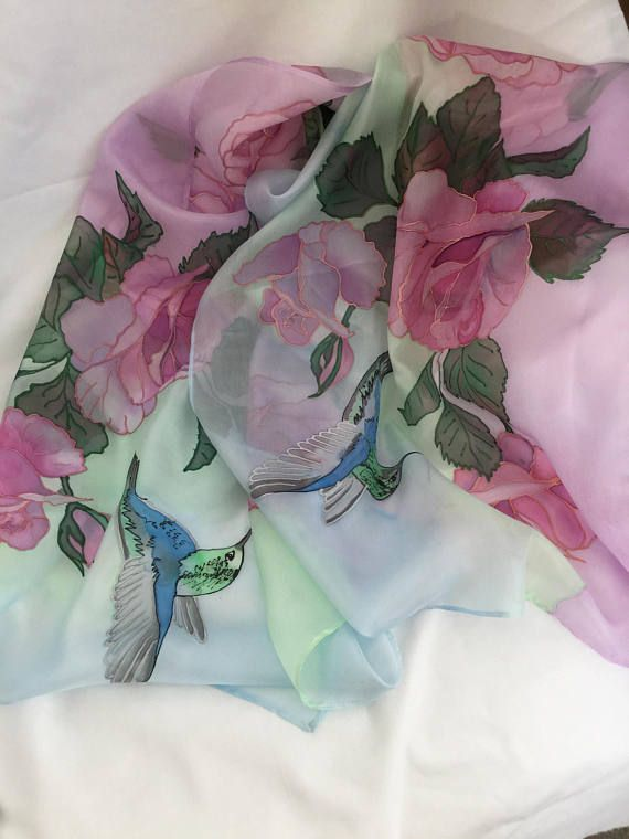 45 x 180 cm/ 21 x 70 in. Handpainted roses with a hummingbird 100% Silk chiffon shawl