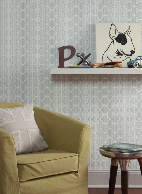 Fresh design for a boy's bedroom with gray geometric wallpaper from http://lelandswallpaper.com