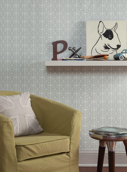 Fresh design for a boy's bedroom with gray geometric wallpaper from http://lelandswallpaper.com
