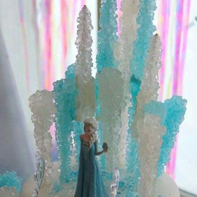 I really like the cake idea with the rock candy. Looks awesome!! Disney Frozen Birthday Cake Ideas for Girls