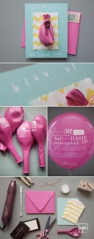 Invitation/faire-part original sur ballon à gonfler, accrocher à une carte avec les instructions !