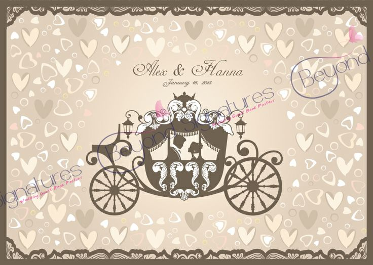 Fairytale Carriage Wedding Guest Book Poster - www.beyondsignatures.com
