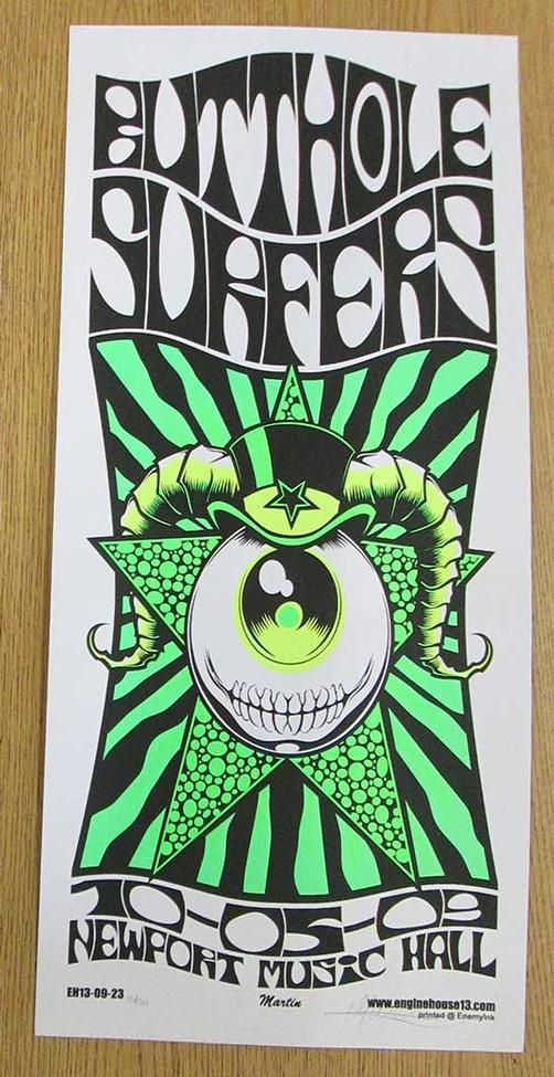 Original silkscreen concert poster for The Butthole Surfers at The Newport Music Hall in Columbus, Ohio in 2009. 12 x 26 inches. Signed and numbered out of 200 by the artist Mike Martin