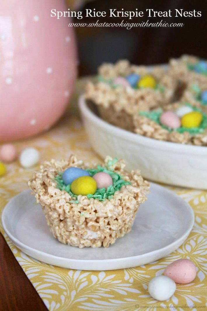 Spring Rice Krispie Treat Nests ~ cute ~  From: What's Cooking With Ruthie