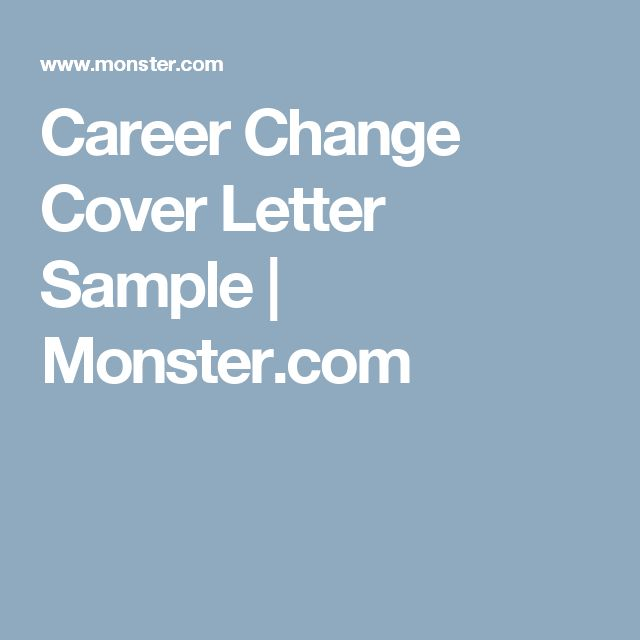 career change cover letter sample monstercom