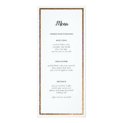 Gold Glitter Frame Table Number Custom Menu - elegant gifts gift ideas custom presents