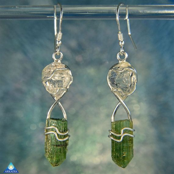 Herkimer Diamond and Raw Green Tourmaline by ArkadianCollection