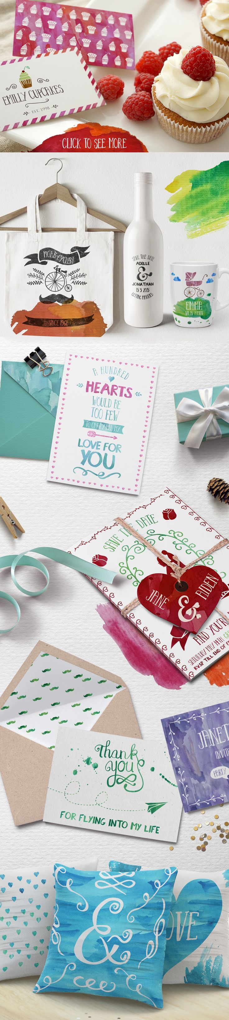 Wedding & Party Watercolour Bundle by fontgirl on Creative Market
