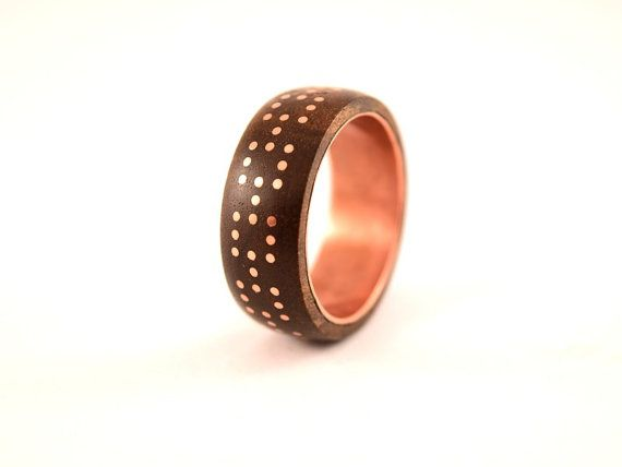 Wood ring Matrix with copper inlay and lined by WoodenJewelryArt
