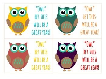 Cute tag for student welcome gift in the ever-so-popular owl theme! Idea: Cut these out, hole punch the corner of each tag and tie a ribbon around a bag of goodies for each student!