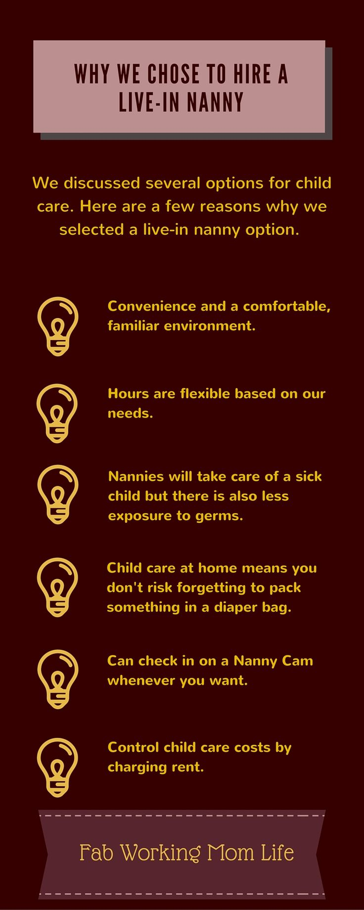 Child Care Options - Our decision to hire a live-in Nanny