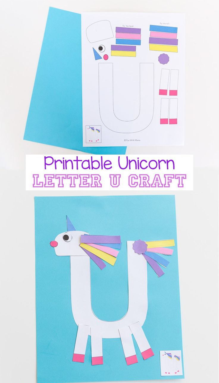 Printable Letter U Craft Unicorn, Unicorn Crafts, Letter Crafts, Alphabet Letter Activities, Preschool Letter Lessons, Cutting Crafts, Fine Motor Crafts