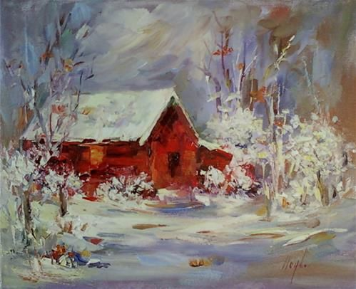 Daily paintworks red barn in snow original fine art for Original fine art for sale