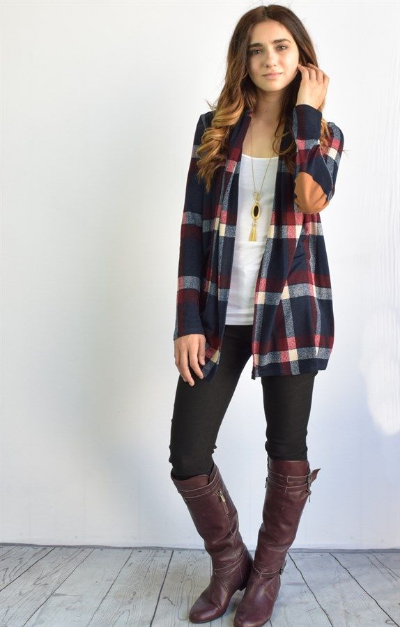 Love this in the green!!!!! Suede Patch Plaid Cardigan | Jane