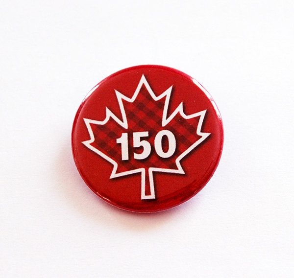 Canada's 150th birthday, Canada Pin, Maple Leaf pin, button, Lapel Pin, Canadian Pride, Maple Leaf, Red White, Canada Day, Red, Plaid (7115) by KellysMagnets on Etsy