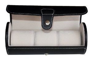 Black 3 Watch Leatherette Roll Travel Traveler's Watch Storage Organizer Collector Case TimelyBuys. $32.99. Unique, roll-style design fits comfortably in luggage for travel; Contrast stitching offers style and elegance; Beautiful black leatherette fabric. Convenient, portable, and practical; Ideal for travel AND a handsome dresser accessory. Three generously padded, plush watch cushions provide ultimate protection. Tastefully organizes and stores up to 3 watches...