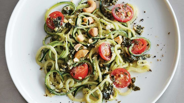 No-Cook Zoodles withWakame Pesto. Wakame seaweed's emerald green color and tender texture make it an unexpectedly stellar stand-in for basil in this nutrient-dense twist on pesto pasta.