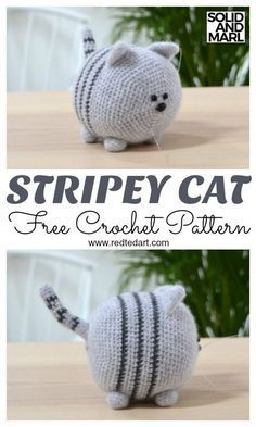 Free Cat Crochet Pattern. How to Crochet a Toy Cat. Adorable Solid and Marl Croc…