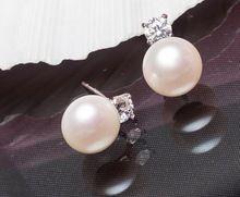 New Top Genuine água doce de pera de pérolas jóia da forma brincos para as mulheres 925 prata do presente do partido jóias(China (Mainland))