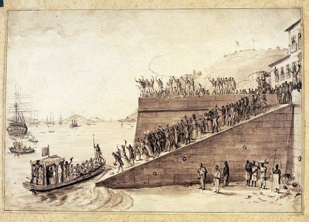 Partida da Rainha de Portugral, por Debret em 1821