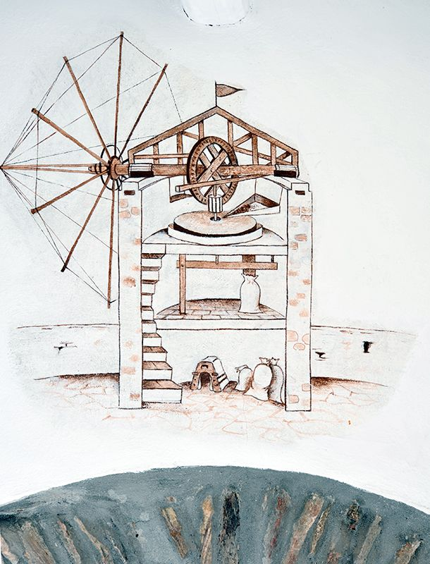 old sketch design of the traditional windmill Definately, this room has a significant story #windmillbellavista #sifnos