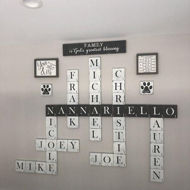 Scrabble Tiles 5.5 White Scrabble Tile Wall Art Giant Scrabble Letters Scrabble Wall Decor