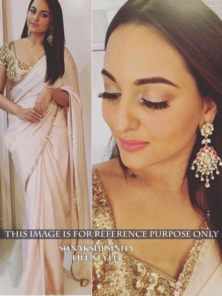 Sonakshi Sinha Georgette Cream Plain Bollywood Designer Saree - BT110