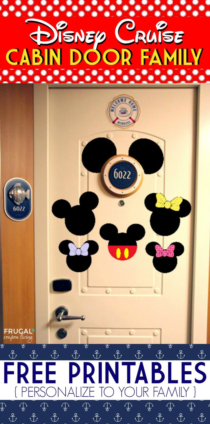 FREE Disney Cruise Door Printables on Frugal Coupon Living - Personalize to your family and print now!