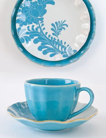 blue...: Floral China, Style, Pretty Things, Colors Designs And, Bold Colors, Teacup, Aqua Floral