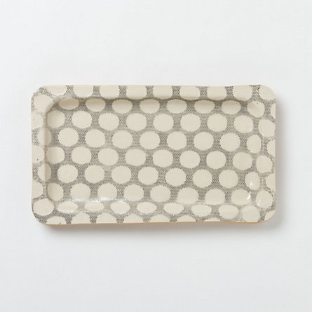 Stretched Dot Stoneware Tray from Terrain: Polka Dots, Stretch Dots, Stoneware Trays, Dots Trays, Sales Shopterrain, Dots Patterns, Trays Shopterrain, Terrain Stretch, Dots Stoneware
