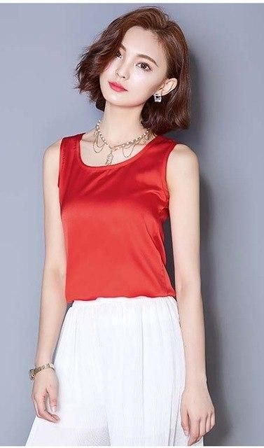 Plus Size Women Blouse Sleeveless Summer Tops Blusas 2016 Solid Color All-Match Silk Vest Shirt Plus Size Casual Chiffon Shirt R