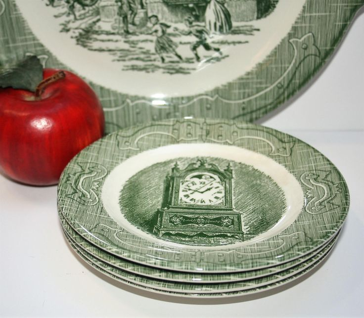 "Four 4 Vintage ""The Old Curiosity Shop"" Green Transferware Dessert Plates Royal China Sebring Ohio Grandfather Clock by AstridsPastTimes on Etsy"