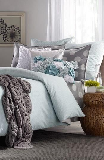 Peaceful & relaxing bedroom. Love the colors but add purple