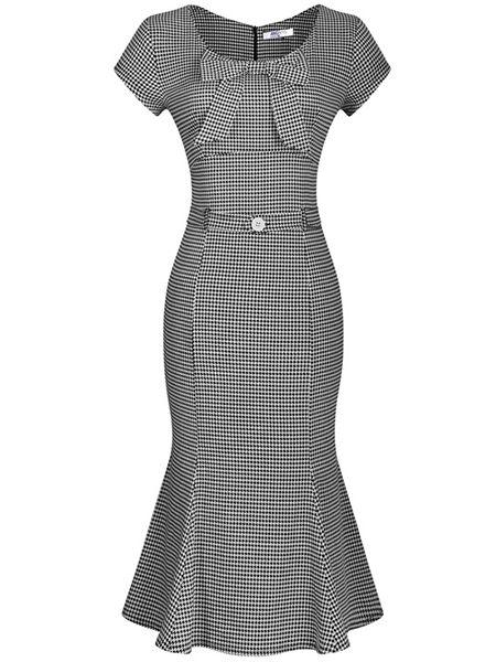 Mermaid Bowknot Houndstooth Bodycon-dress Bodycon Dresses from fashionmia.com