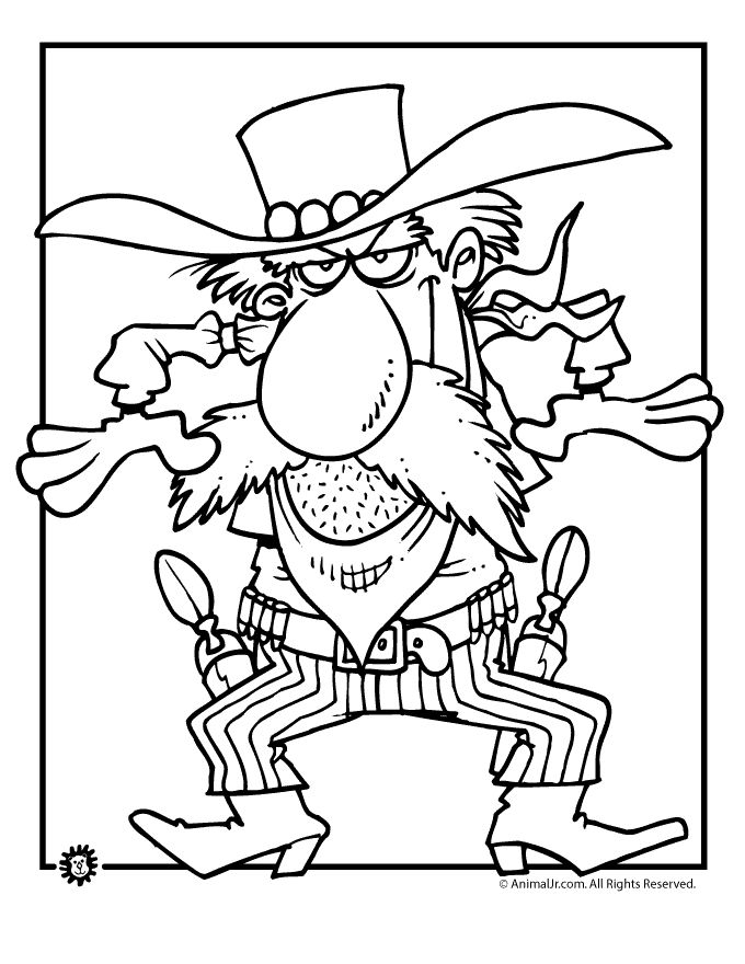 cowboy coloring pages gunfire cowboy coloring page animal jr