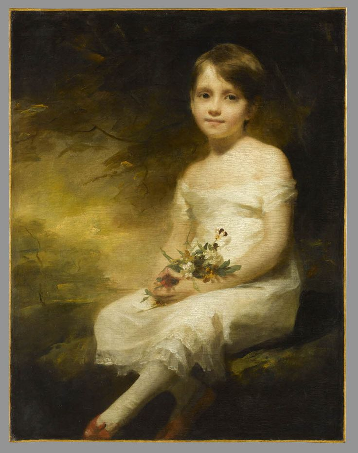 Petite fille tenant des fleurs dit aussi Innocence : Portrait de Nancy Graham/ Raeburn, Henry, Sir/ 1789 à 1914/ © RMN - Grand Palais (Musée du Louvre) / Stéphane Maréchalle