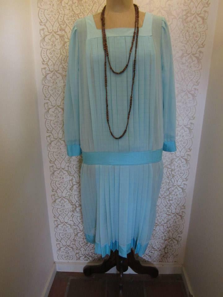 Drop waist day dress in aqua