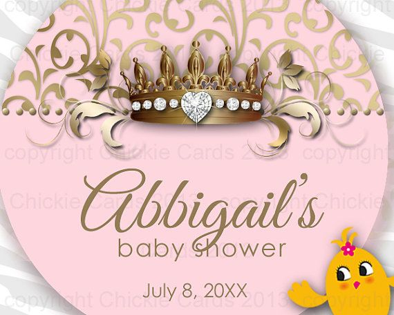 Royal Baby Shower Sticker Crown Round Instant Download 2 inch Custom Thank You Jewelry via Etsy