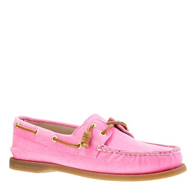 neon pink Sperry top siders  Mine are paler pink and cream with seersucker  on the sides and tongues
