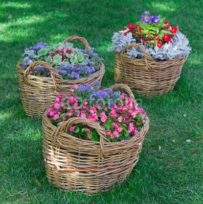 beautiful baskets of flowers in the garden landscape - Beautiful Flower Gardens Waterfalls