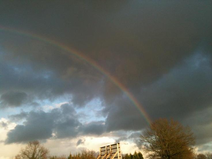 God laat zijn trouw zien in de lucht. De regenboog is een belofte dat God de aarde nooit meer zal straffen door een zondvloed zoals in de tijd van Noach.