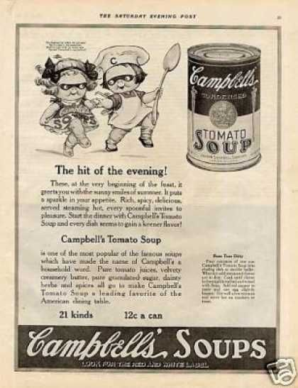 """Campbell's Tomato Soup Ad """"The Hit of the Evening"""" (1921): Soups Salad"""