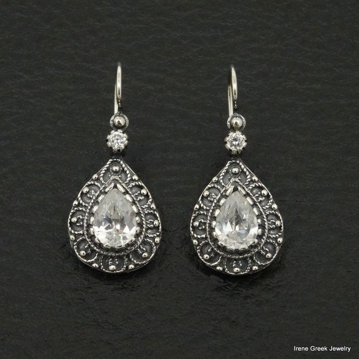 PEAR CUBIC ZIRCONIA ETRUSCAN STYLE 925 STERLING SILVER GREEK HANDMADE EARRINGS #IreneGreekJewelry #DropDangle