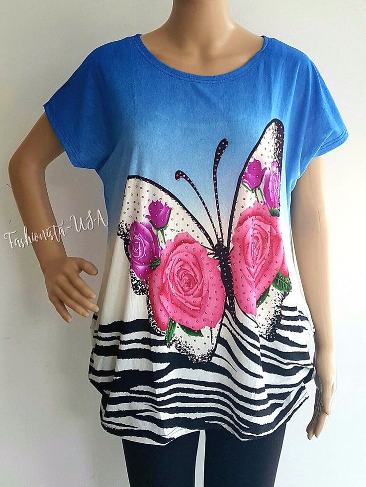 Women's Printed Floral Butterfly Top Sizes - S, L #JuliaFashion #Blouse #Casual