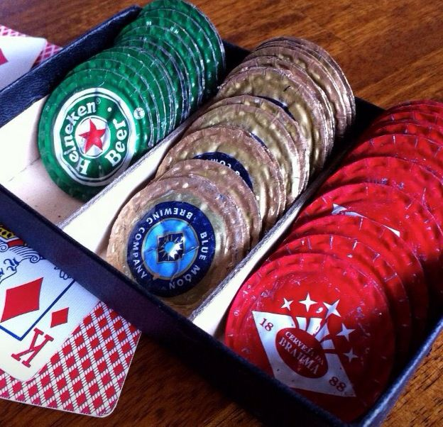 Use squished bottle tops as poker chips.