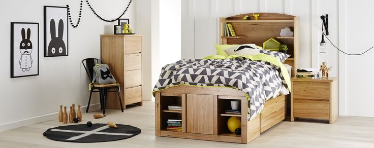 Oliver+Bedroom+Furniture+-+This+bedroom+suite+is+the+ultimate+in+kid's+storage,+with+its+super+functional+bed+head+providing+plenty+of+space+for+books+and+Knick+knacks.+The+under+bed+drawer+is+an+added+bonus+as+well+as+the+foot-end+storage+compartments+to+help+keep+the+bedroom+looking+neat+and+tidy!  Linen:+Kolmio+in+Charcoal,+by+AuraPrints: by+Berelle