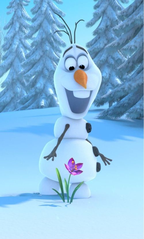 Olaf is so excited to see a flower