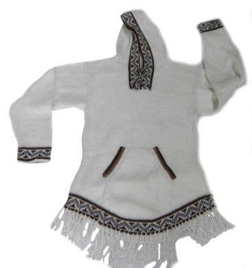 Weißer Damen #Kapuzen #Sweater aus #Alpakawolle, Inka Design. Feinste Alpakawolle gibt Ihnen ein wohlig warmes und kuschlig weiches Tragegefühl.