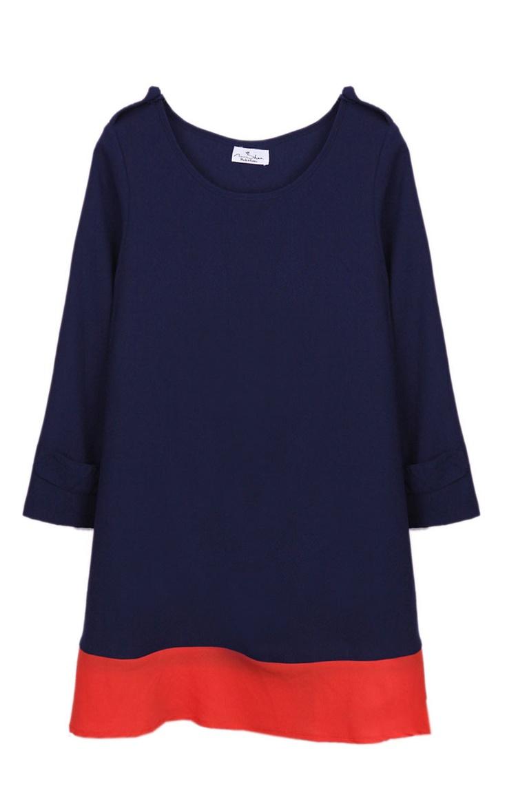 Chiffon blue and red dress